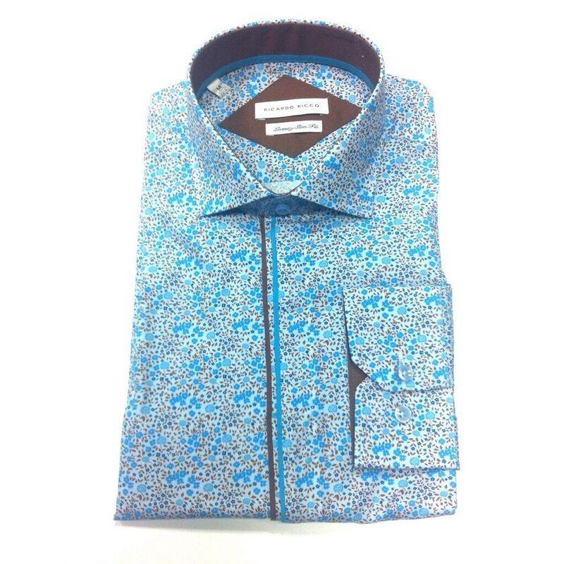 Кофта, рубашка, футболка мужская Ricardo Ricco Мужская рубашка, цвет: принт (Slim Fit) RR3 - фото 1