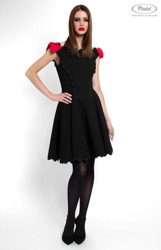 Платье женское Pintel™ Чёрное приталенное мини-платье без рукавов Astrid - фото 2