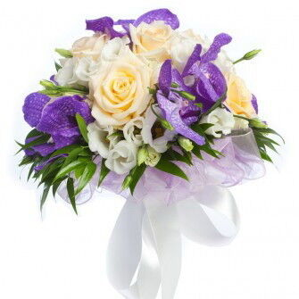 Магазин цветов Фурор Круглый букет с орхидеей «Ванда» - фото 1