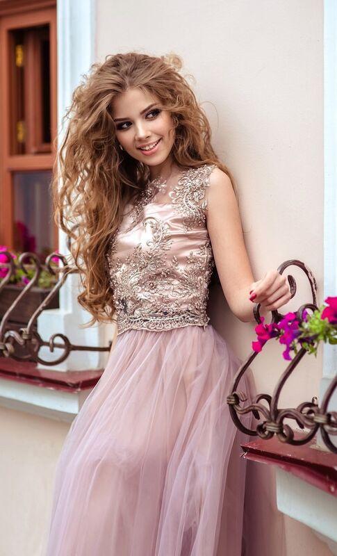 Вечернее платье Shkafpodrugi Роскошный кружевной топ с юбкой - фото 3