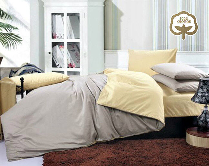 Подарок Tango Однотонное постельное белье из сатина на резинке евро JT03 - фото 1