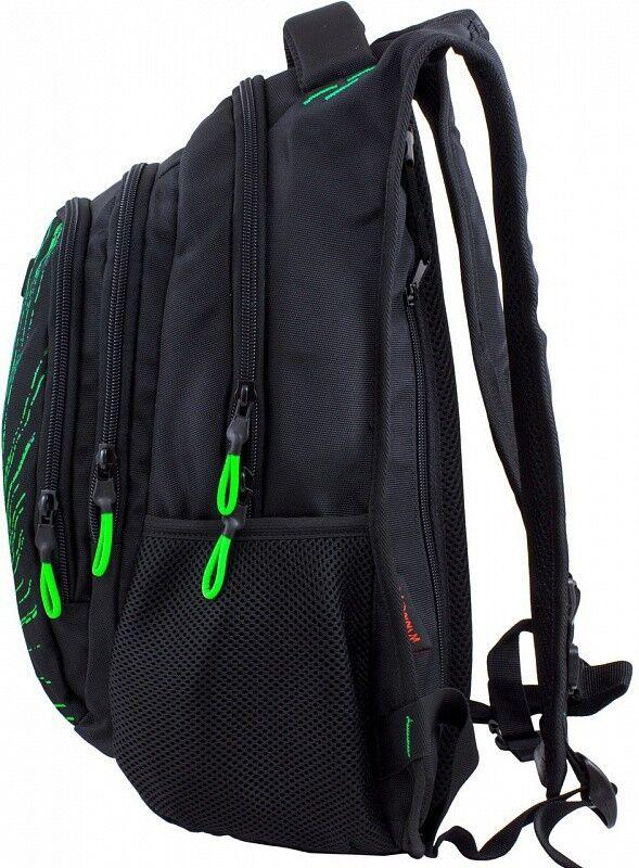 Магазин сумок Winner Рюкзак школьный черно-зеленый 387 - фото 2