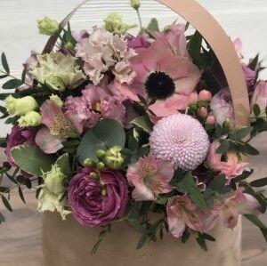 Магазин цветов Прекрасная садовница Цветочная композиция с розой Мисти бабблс - фото 1