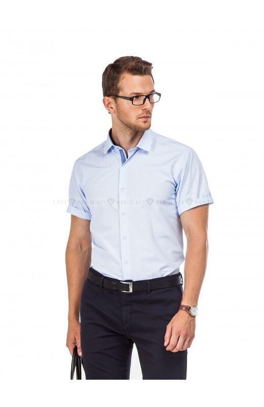 Кофта, рубашка, футболка мужская Keyman Рубашка мужская голубая в клеточку (короткий рукав) - фото 1