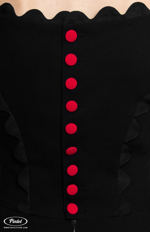 Платье женское Pintel™ Чёрное приталенное мини-платье без рукавов Astrid - фото 4