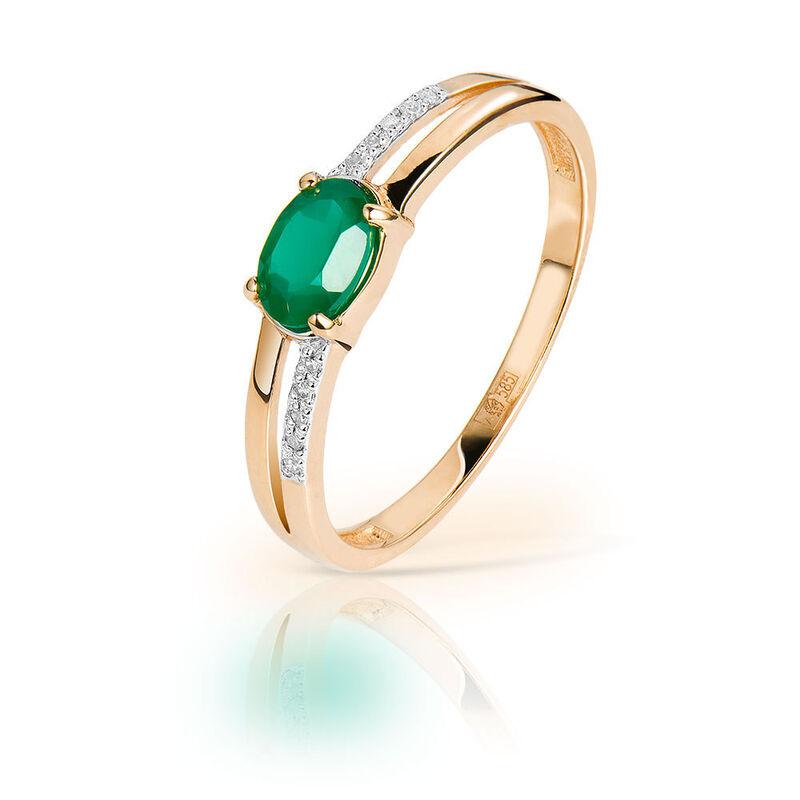 Ювелирный салон Jeweller Karat Кольцо золотое с бриллиантами и хризопразом арт. 1215903 - фото 1