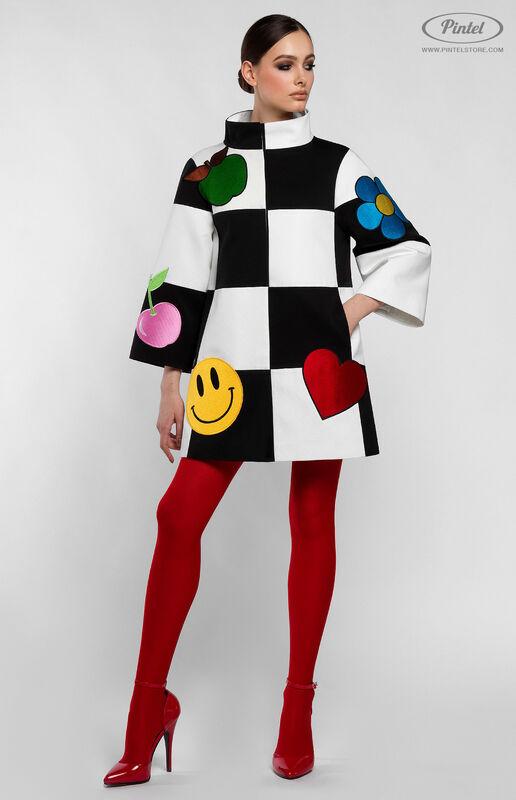 Верхняя одежда женская Pintel™ Комбинированное оп-арт полупальто прямого силуэта Maloü - фото 2