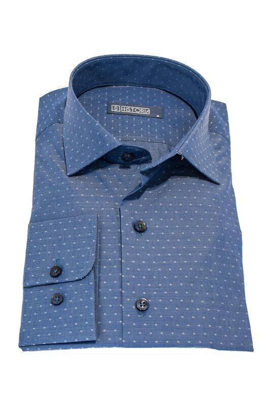 Кофта, рубашка, футболка мужская HISTORIA Рубашка мужская, синяя в мелкий рисунок - фото 1