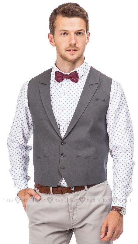 Пиджак, жакет, жилетка мужские Keyman Жилет мужской серый с лацканами - фото 1
