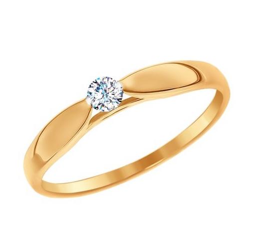 Ювелирный салон Sokolov Помолвочное кольцо из золота со Swarovski Zirconia 81010234 - фото 1