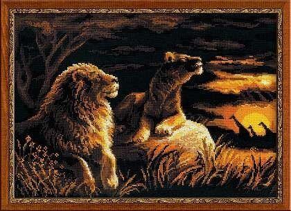 Товар для рукоделия Риолис Набор для вышивания «Львы в саванне» - фото 1