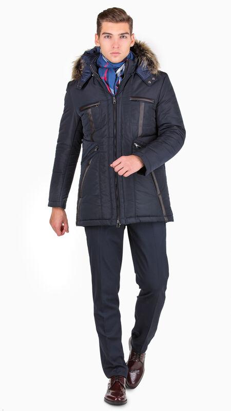 Верхняя одежда мужская HISTORIA Куртка утепленная темно-синяя с капюшоном WJ.Bld.Cri001 - фото 1