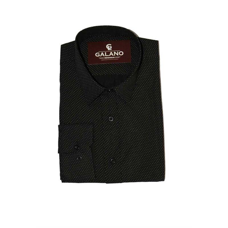 Кофта, рубашка, футболка мужская Galano Рубашка черная в крапинку белую - фото 1