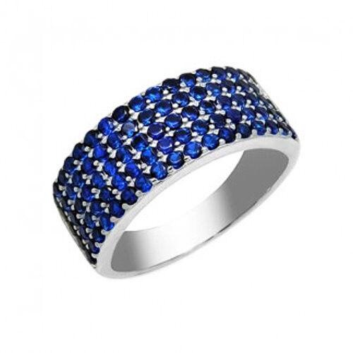 Ювелирный салон Evora Кольцо из серебра 925 пробы с синими фианитами 624776 - фото 1