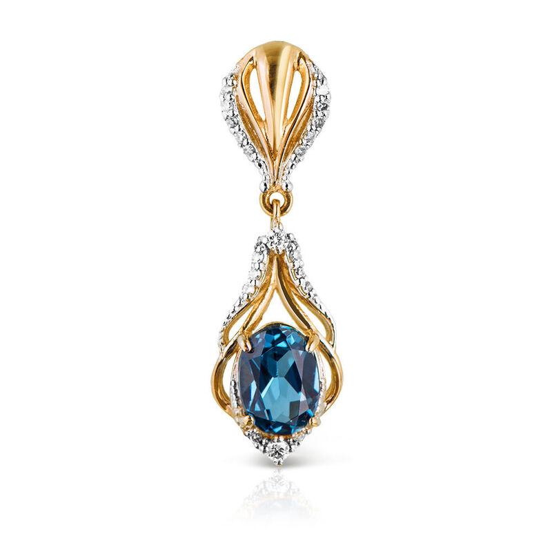 Ювелирный салон Jeweller Karat Подвеска золотая с бриллиантами и топазом арт. 1235488 - фото 1
