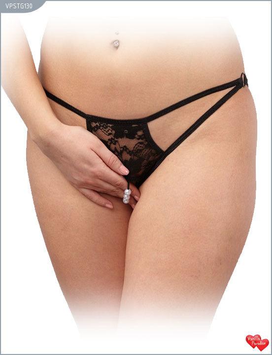 Интим-магазин Vanilla Paradise Стринги женские с доступом кружевные, чёрные VPSTG130 - фото 1