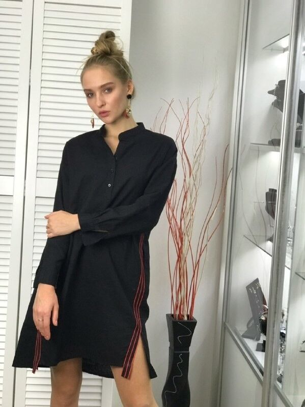 Платье женское It's me! (Это Я!) Чёрное платье с красным лампасом - фото 1