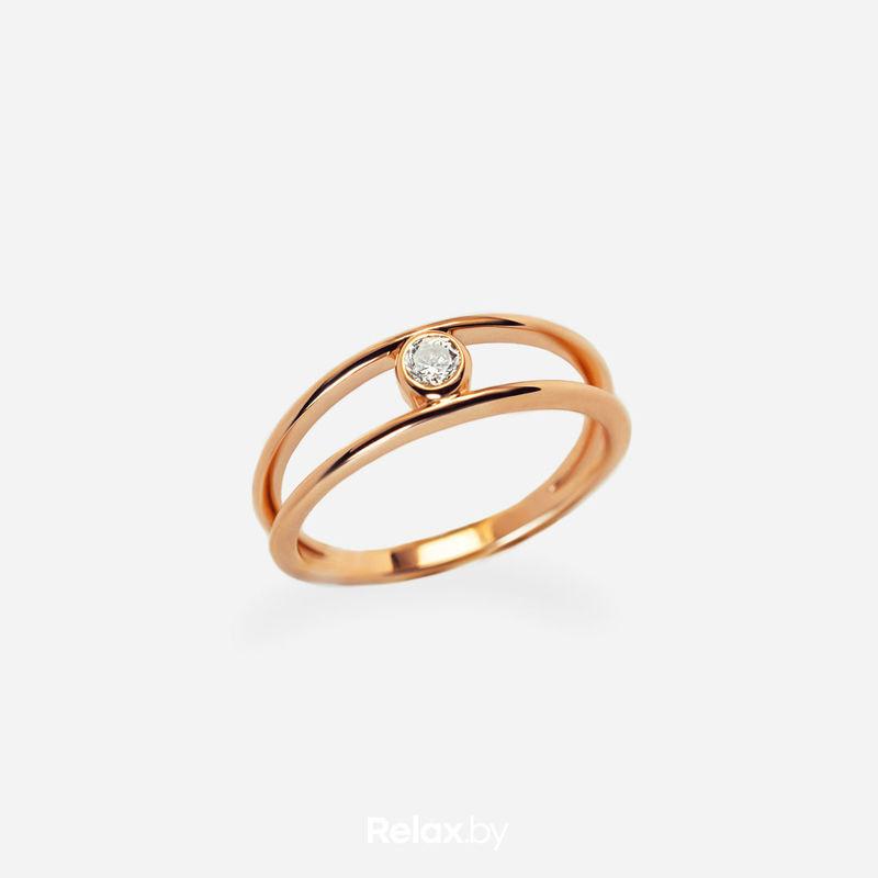 Ювелирный салон Белорусские Бриллианты Кольцо из золота со вставкой бриллиант синт. 21010032 - фото 1