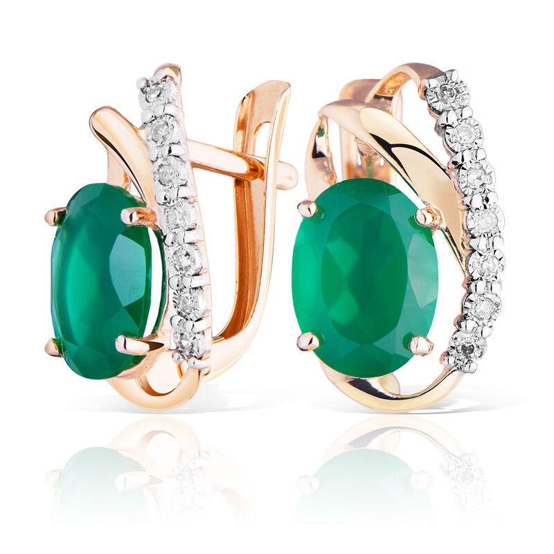 Ювелирный салон Jeweller Karat Серьги золотые с бриллиантами и хризопразами арт. 3226084/9 - фото 1