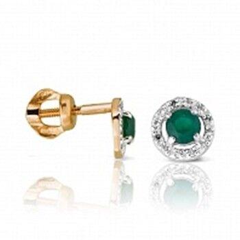 Ювелирный салон Jeweller Karat Серьги золотые с бриллиантами и изумрудом арт. 1224688 - фото 1