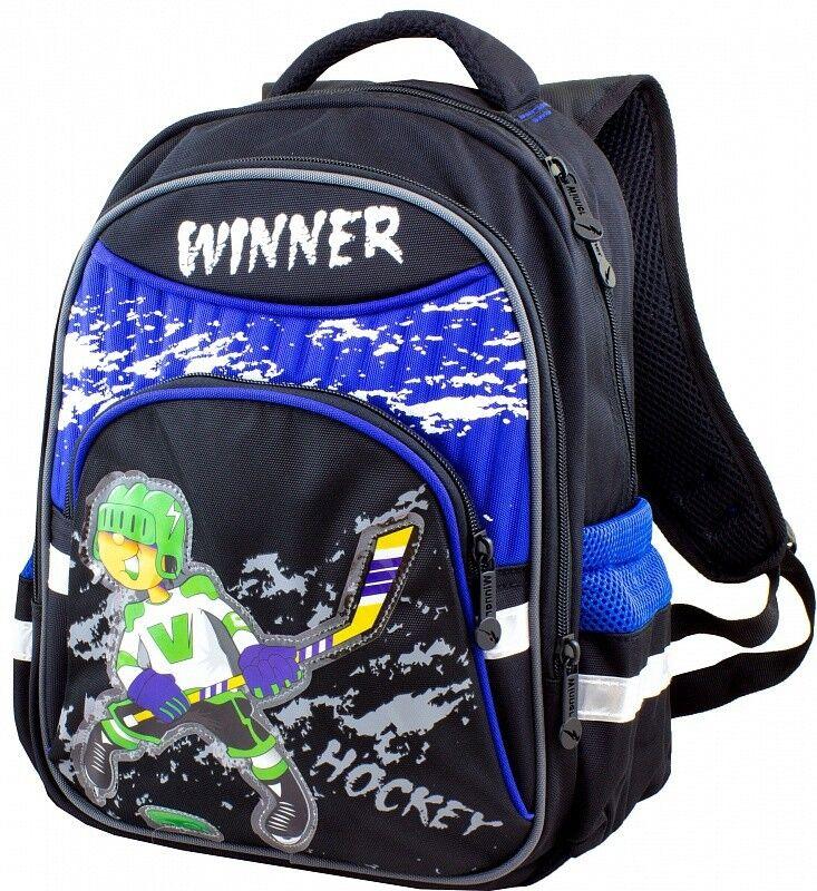 Магазин сумок Winner Рюкзак школьный черно-синий 905 - фото 1