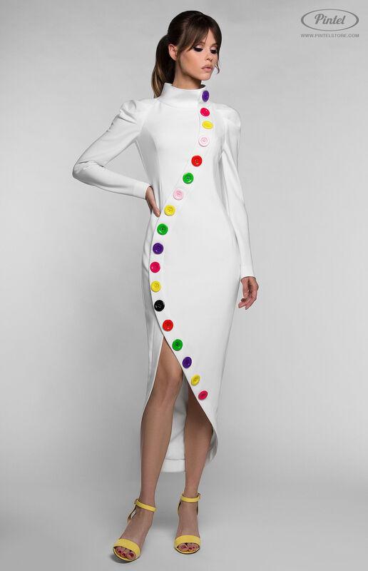 Платье женское Pintel™ Приталенное белое платье с длинным рукавом YOŬMNA - фото 1