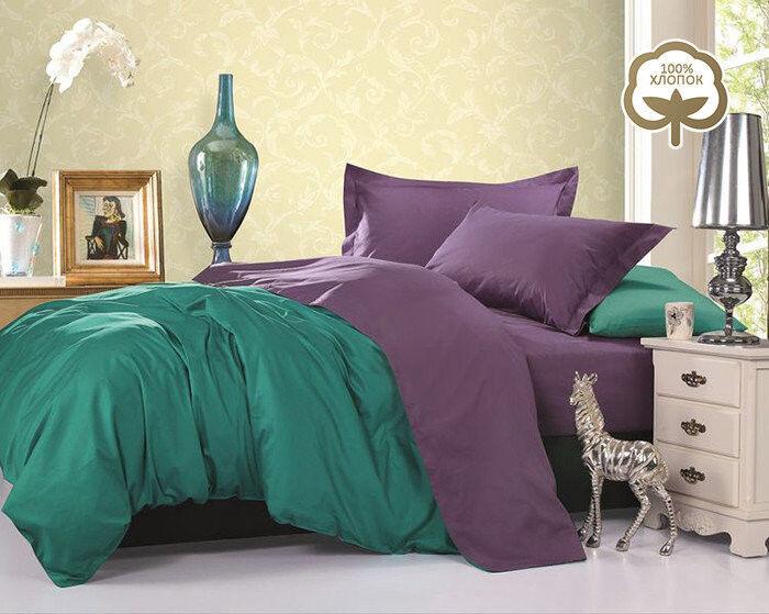 Подарок Tango Однотонное постельное белье из сатина на резинке евро JT21 - фото 1