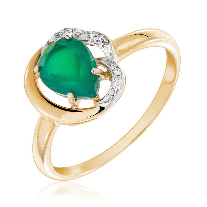 Ювелирный салон Jeweller Karat Кольцо золотое с бриллиантами и хризопразом арт. 1214762/1 - фото 1