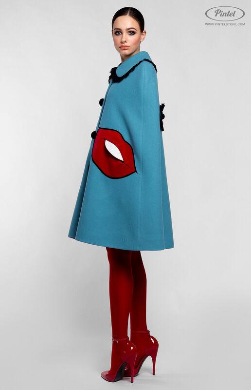 Верхняя одежда женская Pintel™ Кейп из голубой натуральной шерсти Mellaáni - фото 2