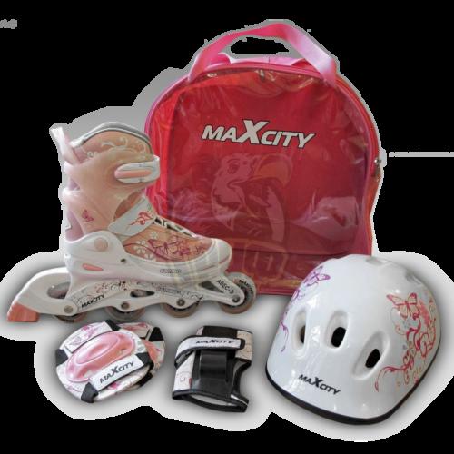 Роликовые коньки Maxcity Роликовые коньки раздвижные Caribo Combo Girl с комплектом защиты - фото 2