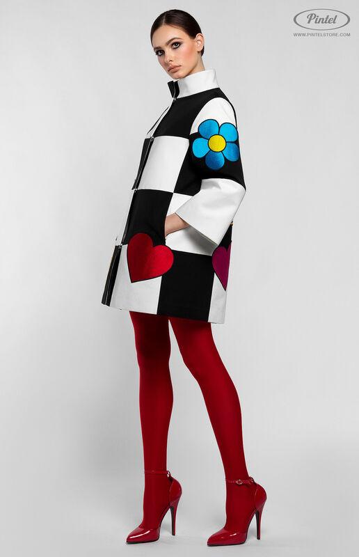 Верхняя одежда женская Pintel™ Комбинированное оп-арт полупальто прямого силуэта Maloü - фото 3