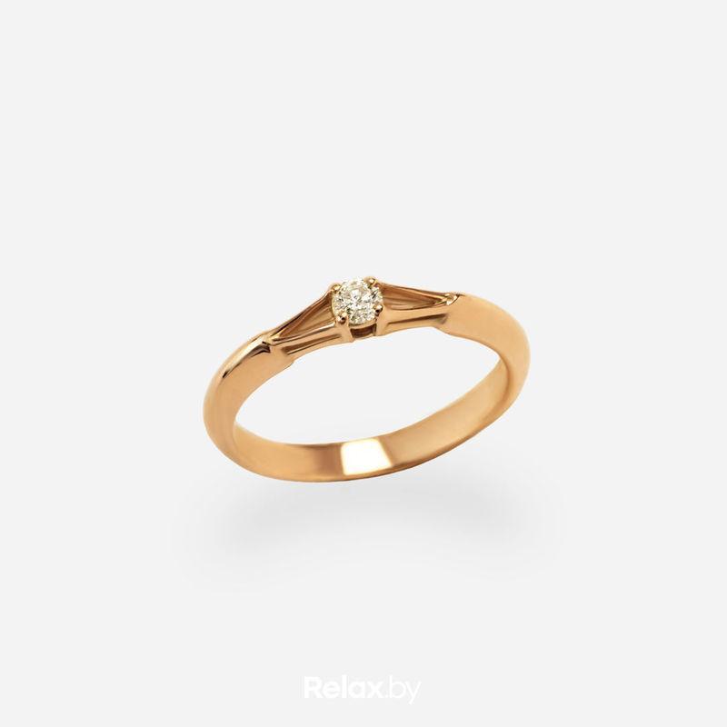Ювелирный салон Белорусские Бриллианты Кольцо из золота со вставкой бриллиант синт. 21010050 - фото 1