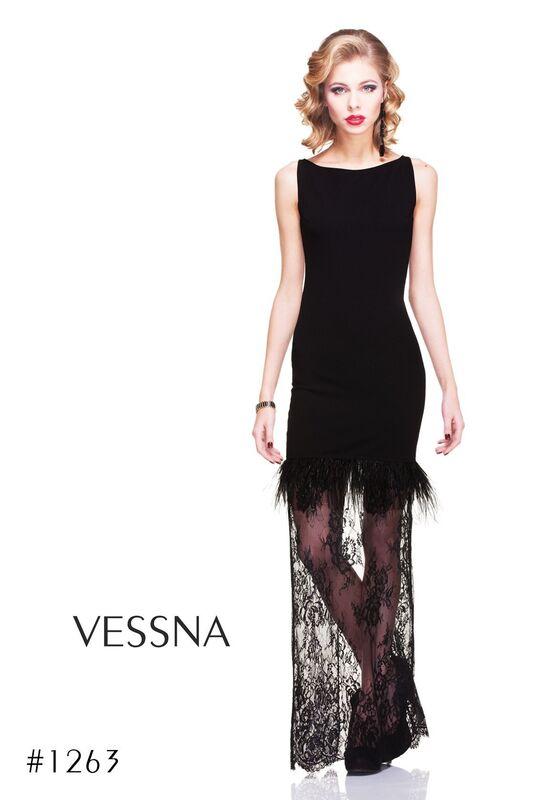 Вечернее платье Vessna Вечернее платье с перьями арт.1263 из коллекции VESSNA NEW - фото 2