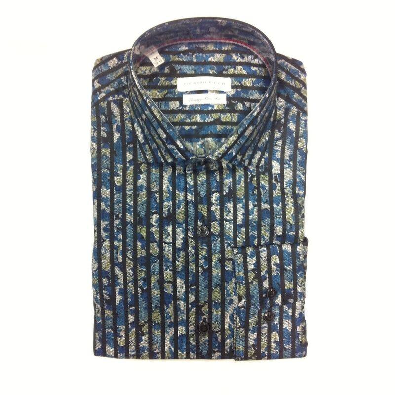 Кофта, рубашка, футболка мужская Ricardo Ricco Рубашка мужская, цвет: принт (Slim Fit) RR15 - фото 1