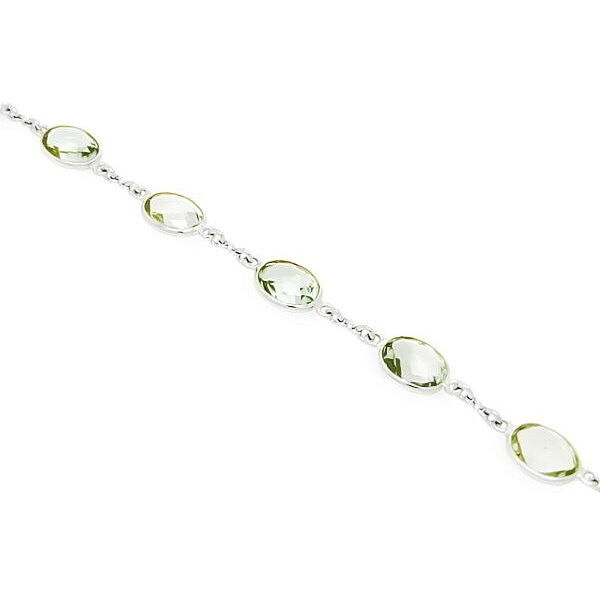 Ювелирный салон Evora Браслет из серебра 925 пробы с зелеными аметистами 624321 - фото 1