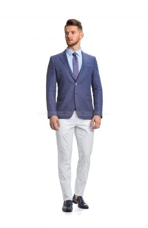 Пиджак, жакет, жилетка мужские Keyman Пиджак мужской синий льняной - фото 2