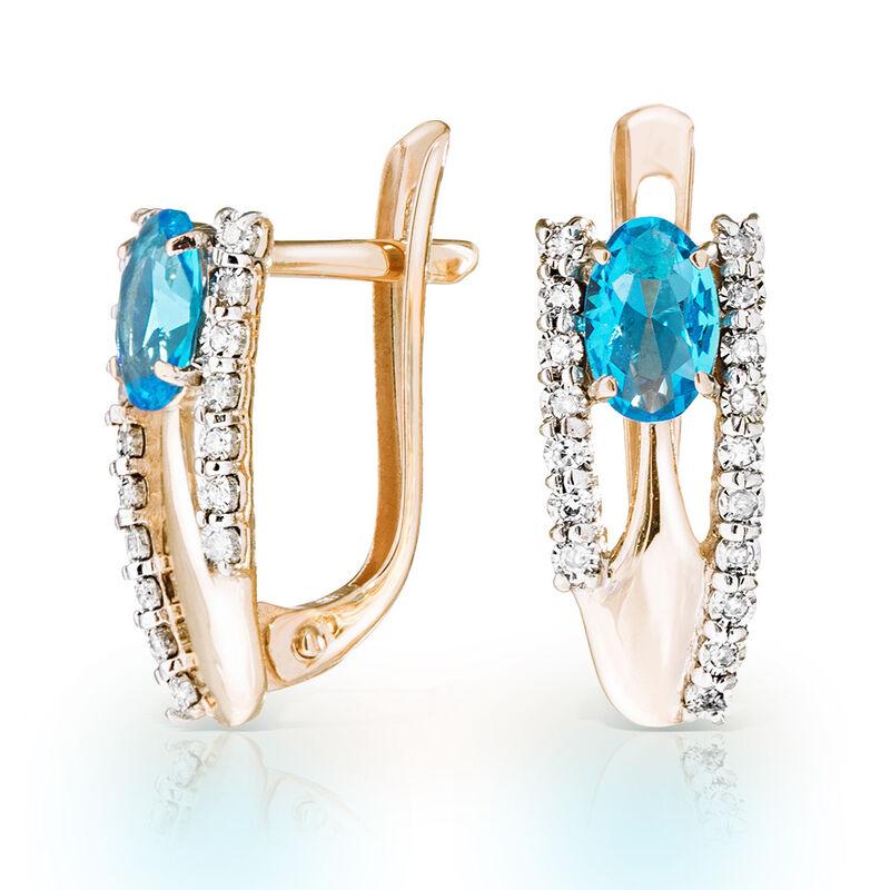 Ювелирный салон Jeweller Karat Серьги золотые с бриллиантами и топазом арт. 3226079/9 - фото 1