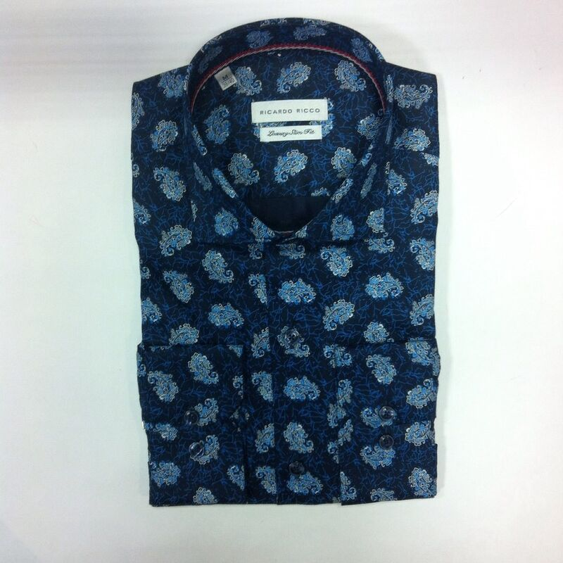 Кофта, рубашка, футболка мужская Ricardo Ricco Рубашка мужская, цвет: принт (Slim Fit) R23 - фото 1
