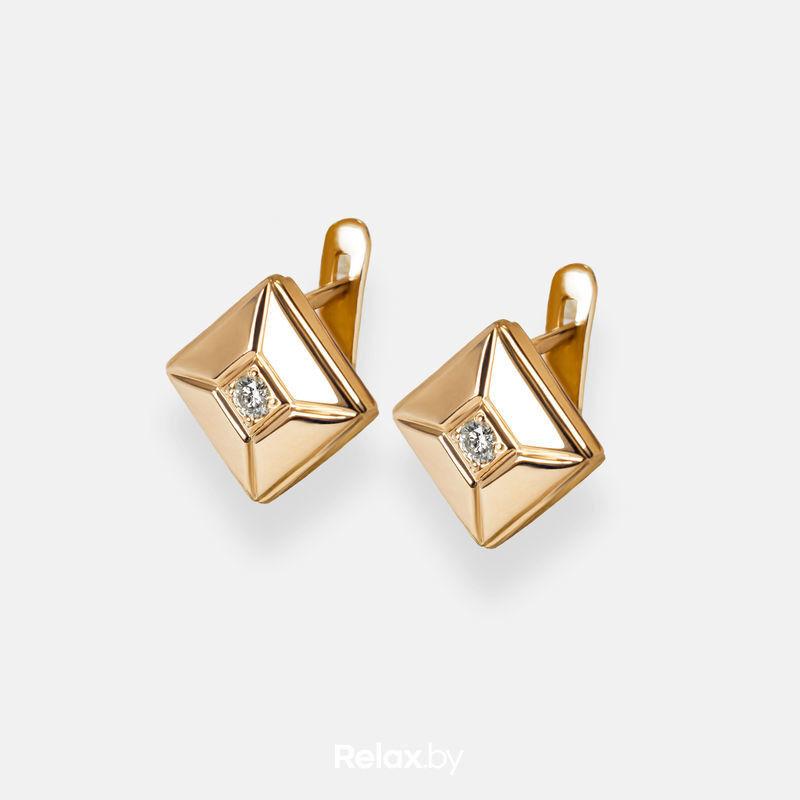 Ювелирный салон Белорусские Бриллианты Серьги из золота со вставкой бриллиант синт. 31010049 - фото 1