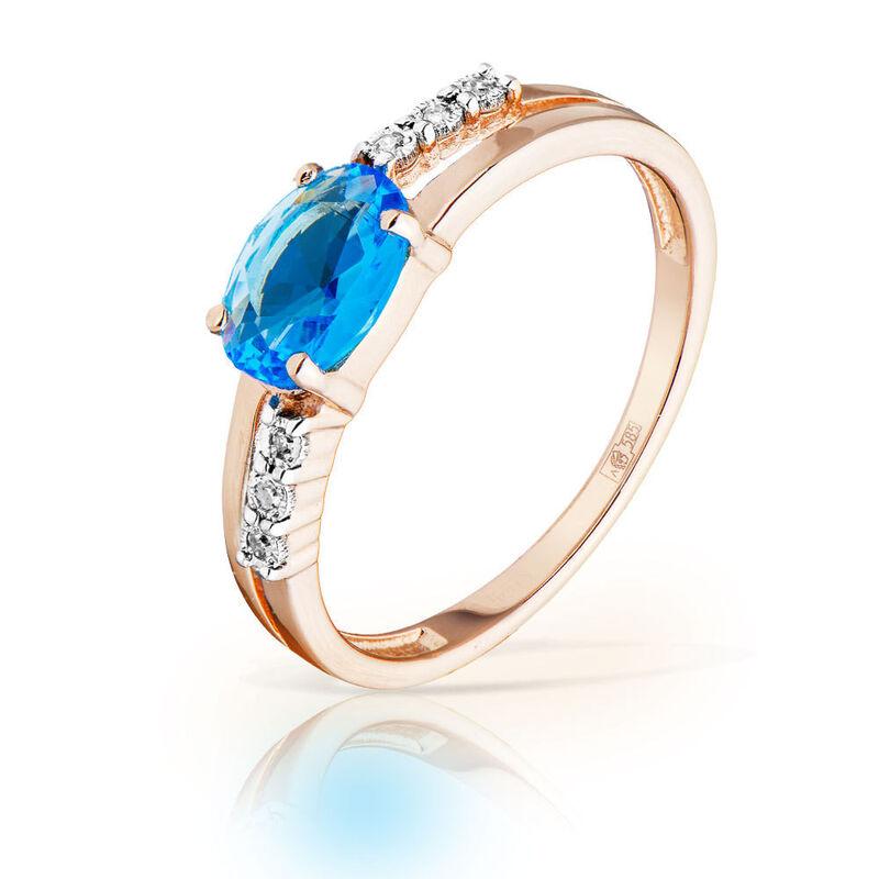 Ювелирный салон Jeweller Karat Кольцо золотое с бриллиантами и топазом арт. 3216032/9 - фото 1