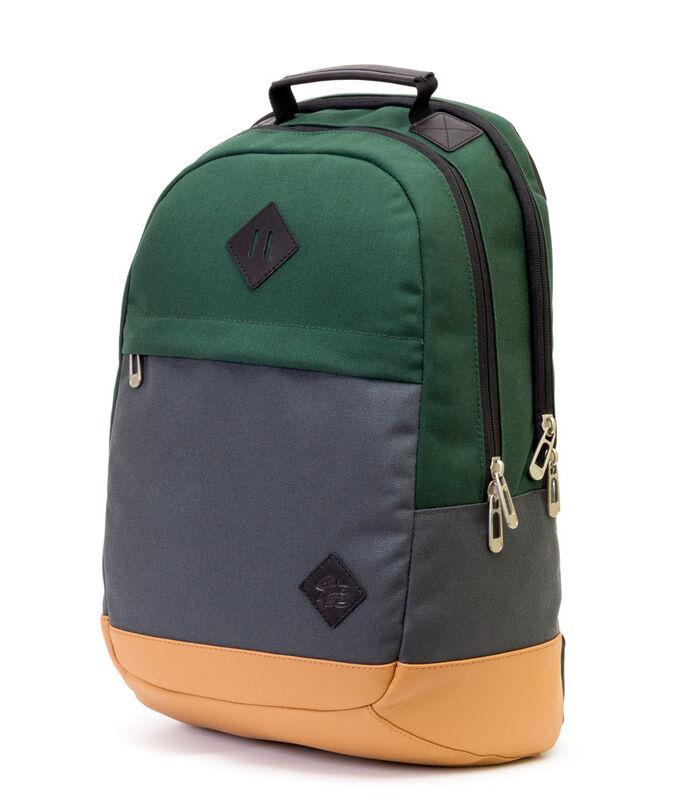 Магазин сумок Studio 58 Рюкзак молодежный с отделением для ноутбука зеленый/серый/бежевый 9007 - фото 1