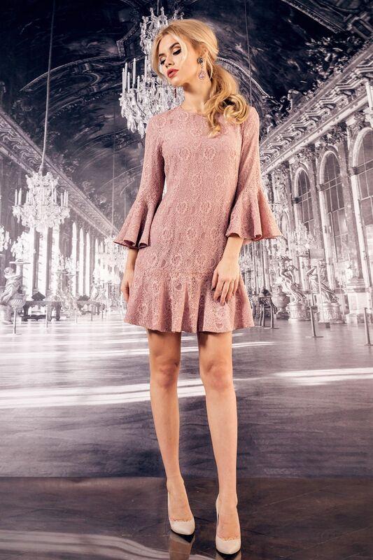 Платье женское SL.IRA Гипюровое платье с воланами нежно-розового цвета - фото 1