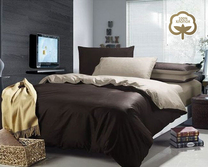 Подарок Tango Однотонное постельное белье из сатина на резинке евро JT46 - фото 1