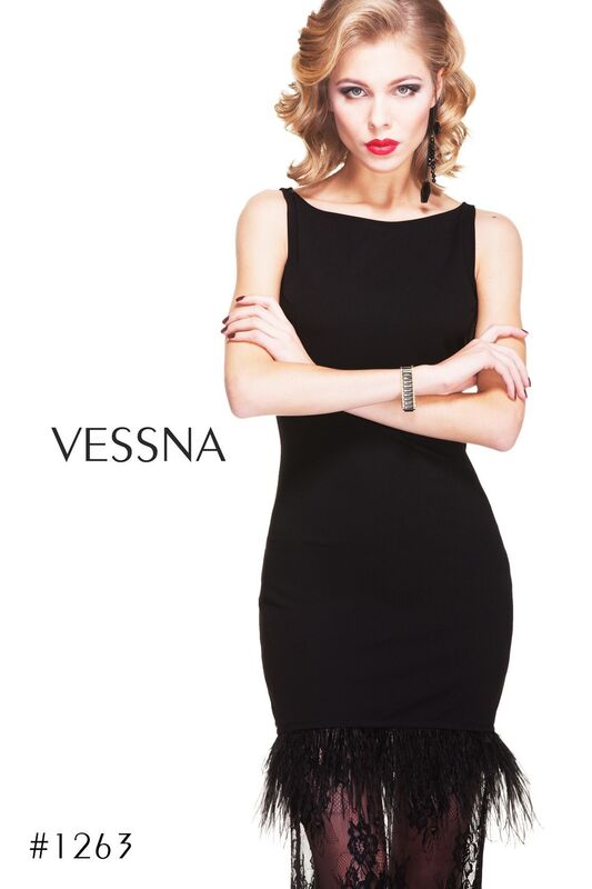 Вечернее платье Vessna Вечернее платье с перьями арт.1263 из коллекции VESSNA NEW - фото 1