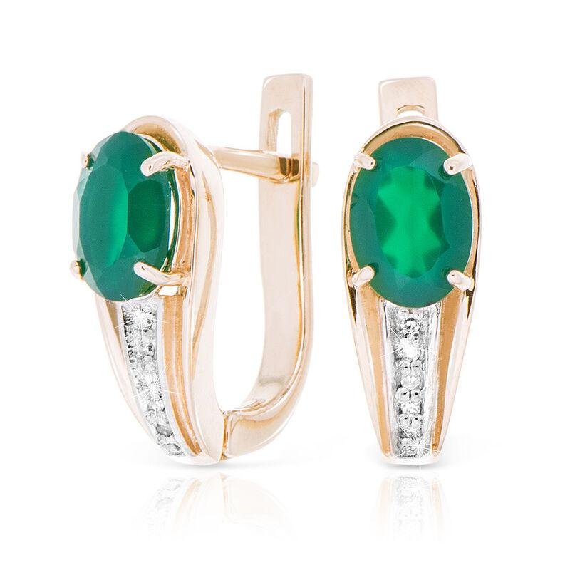 Ювелирный салон Jeweller Karat Серьги золотые с бриллиантами и хризопразом арт. 1223625/2 - фото 1