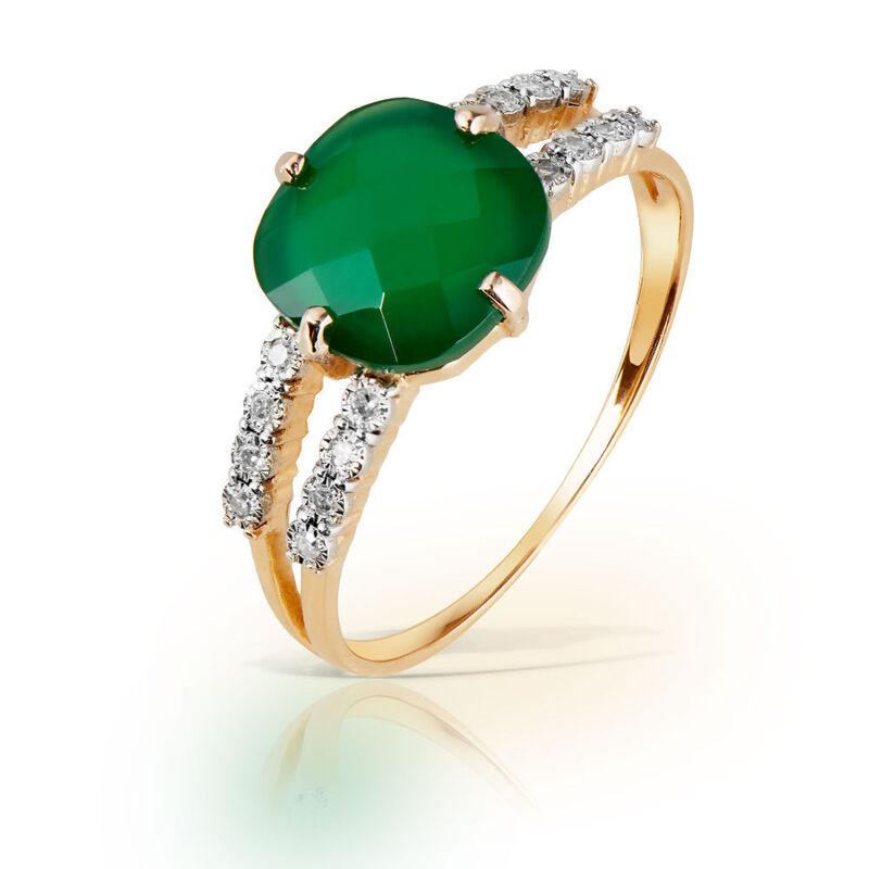 Ювелирный салон Jeweller Karat Золотое кольцо с бриллиантами и хризопразом арт. 3216081/9 - фото 1
