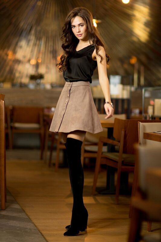 Юбка женская SL.IRA Замшевая юбка клеш цвета кофе с молоком - фото 1