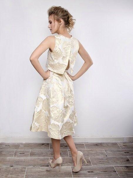 Вечернее платье SHI-SHI Стильный комплект из золотого топа и юбки солнце 116 - фото 3