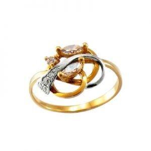 Ювелирный салон jstudio Золотое кольцо с различными фианитами 10272 - фото 1