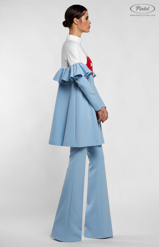 Костюм женский Pintel™ Комбинированный бело-голубой брючный костюм ROOSǍ - фото 3